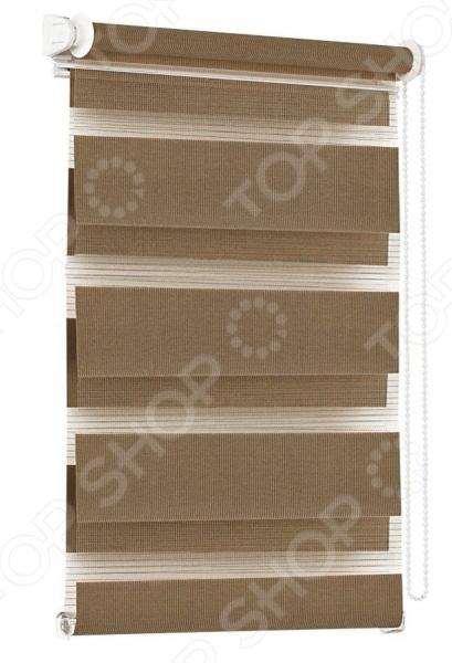 Миниролло Эскар «День-Ночь»Рулонные шторы<br>Миниролло Эскар День-Ночь преобразит интерьер и оживит атмосферу, а также придаст вашей комнате домашний уют, завершенность и оригинальность. Модель разительно отличается от стандартных рулонных или тканевых штор. Оконный проем не закрывается полностью, а подоконник остается открытым. Высота поднимая и опускания регулируется, что крайне удобно. В комнату поступает именно столько света, сколько вам требуется. Богатый выбор расцветок позволяет вписать миниролло в любой интерьер. Миниролло Эскар День-Ночь изготовлено из полиэстера. Этот материал известен своими отличными потребительскими свойствами. Он не впитывает запахи, не выцветает на солнце и не притягивает пыль. Изделие крепится на откидное окно с помощью клипсы, а на глухое окно за счет площадки с двусторонним скотчем.<br>