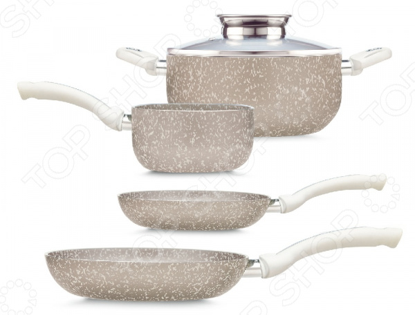 Набор посуды PENSOFAL PEN8931Наборы посуды для готовки<br>Набор посуды PENSOFAL PEN8931 состоит из всего самого необходимого, что может вам понадобится во время готовки. Вся посуда имеет оптимальный объем и размер, подходящий как для большой семьи, так и для холостяка. Элегантный дизайн выполнен в светлых тонах, благодаря чему этот комплект будет смотреться на вашей кухне по королевски. Помимо эстетической стороны, посуда очень практична и многофункциональна, что делает ее незаменимой. В состав входят четыре часто используемых предмета и специальная крышка с воронкой для приправ, которые превратят тяжелый процесс готовки в приятное времяпровождение. Посуда выполнена из штампованного алюминия высокого качества, который быстро нагревается и равномерно распределяет тепло, обеспечивая качественную обработку продуктов. Двойное дно состоит из нержавеющего запатентованного металла с защитой от деформации, способного выдержать до 200 градусов и не деформироваться. Специальные эргономичные бакелитовые ручки удобны и комфортно умещаются в ладони. Все элементы набора имею уникальное четырехслойное антипригарное покрытие, усиленное частицами твердых минералов, которые защищают посуду от механических повреждений. Внешнее покрытие также имеет антипригарные свойства и вкрапление минералов, что облегчает уход за посудой и позволяет мыть ее в посудомоечной машине. Также, внешнее покрытие сохраняет оригинальный цвет изделий, позволяя им превосходно выглядеть в течении долгого времени. Весь комплект выполнен из экологичного материала и выполнен по всем строгим мировым стандартам. Набор позволит вам готовить блюда без большого количества растительного масла или жира, обеспечивая вам и вашей семье возможность питаться здоровой пищей.<br>