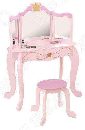 Туалетный столик KidKraft с зеркалом «Принцесса»Парты. Столы. Стулья. Табуреты детские<br>Туалетный столик KidKraft с зеркалом Принцесса это изысканный косметический столик, который был разработан специально для девочек с учетом их роста и предпочтений. Ведь каждая юная особа заглядывается на материнский туалетный столик, мечтая о таком же, где она сможет, как мама, прихорашиваться перед выходом на улицу. Но, за полноценным туалетным столиком маленькая девочка не будет чувствовать себя уютно, чего не скажешь про эту детскую модель:  высота столешницы идеально подобрана под небольшой рост ребенка;  на маленькой табуретке удобно сидеть;  в столе есть выдвижной ящик;  тройное большое зеркало.  Это сказочный косметический столик, который понравится каждой девочке без исключений. За ним девочка почувствует себя красивой и повзрослевшей девушкой, поднимет свою самооценку. В ящике достаточно места чтобы хранить мелкие вещи и элементы косметики. Компания KidKraft особенно тщательно подходит к выбору материалов, из которых изготавливает свои изделия. Зная, что их продукцией пользуются в основном дети, производитель придерживается всех стандартов производства:  использование древесины лучших пород деревьев;  материалы только натурального происхождения;  изделие экологически чистое;  краски не выделяют токсинов;  стильный и гармоничный дизайн.  Розовый туалетный столик впишется в любой интерьер детской комнаты, украсив его плавными линиями. Благодаря цвету столик смотрится очень изящно и воздушно, не смотря его его очень прочную и устойчивую конструкцию. Такой подарок очень понравится юной принцессе, которая еще долгое время будет им с удовольствием пользоваться!<br>