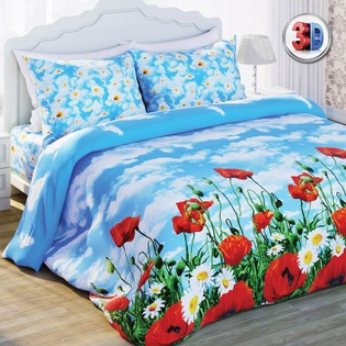 Купить Комплект постельного белья с эффектом 3D Любимый дом Солнечный мак. 2-спальный