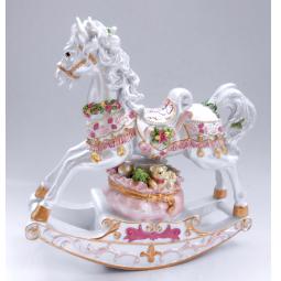 фото Музыкальная шкатулка Crystal Deco «Лошадка-качалка». Цвет: розовый, белый