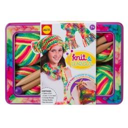 Купить Набор для вязания спицами ALEX «Разноцветные шарф и шапочка»