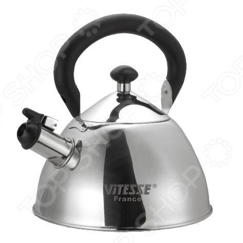 Чайник со свистком Vitesse Anouk прекрасно подойдет для разогрева воды на газовых, чугунных, стеклокерамических, галогеновых и индукционных конфорках. Выполнен в зеркальной полировке и отлично будет смотреться на вашей кухне. Корпус и крышка изготовлены из нержавеющей стали, а ручка из бакелита.