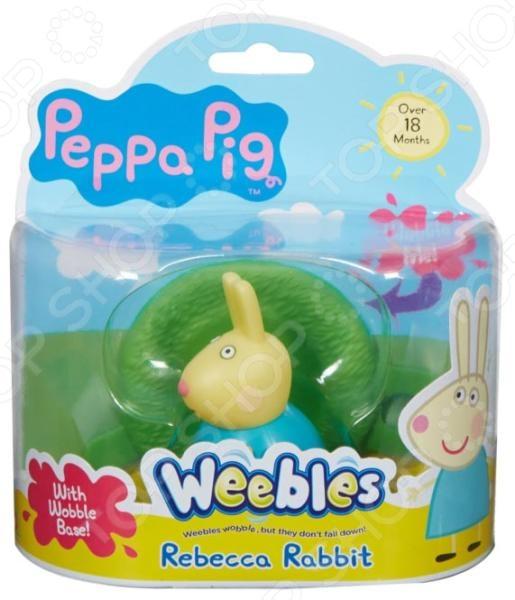 Неваляшка Росмэн «Кролик Ребекка»Неваляшки<br>Неваляшка Росмэн Кролик Ребекка прекрасная игрушка, которая относится к категории самообучающих игрушек. Вам не надо учить малыша играть с ней, он самостоятельно поймет что нужно делать. Яркие и красочные цвета, забавные движения вызовут у малыша желание постоянно дотрагиваться и катать неваляшку. Игрушка будет незаменима в развитии логического мышления ребенка, координации движений, мелкой моторики рук, цветового и тактильного восприятия. Неваляшка с выпуклыми ручками в виде одного из персонажей мультфильма Свинка Пеппа кролика Ребекки, выполнена из качественного пластизоля, который совершенно безопасен для детского здоровья. В комплекте также имеется игровое поле диаметром 8 см, которое легко соединяется с игровыми полями из других наборов.<br>