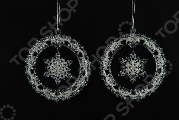Елочное украшение Crystal Deco «Снежинка-венок». В ассортименте