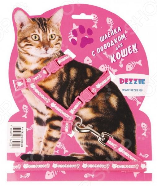 Набор для кошек: шлейка и поводок DEZZIE «Свит». Цвет: розовый