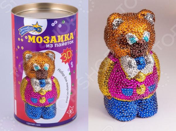 Мозаика из пайеток 3D «Мишка» Мозаика из пайеток Волшебная мастерская «Мишка» /