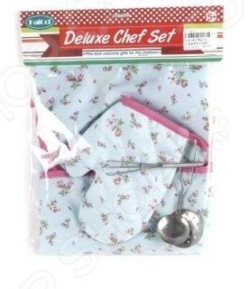 Игровой набор для ребенка Shantou Gepai «Шеф-повар»Сюжетно-ролевые наборы<br>Игровой набор для ребенка Shantou Gepai Шеф-повар состоит из фартука и рукавички. Это необходимые составляющие образа настоящего профессионального повара. Каждая вещь изготовлена из приятной на ощупь ткани светло-голубого цвета, украшенной цветочным узором. Ткань прочная, экологически чистая. Ваш ребенок с удовольствием наденет на себя такие вещицы и обязательно поможет с готовкой на кухне. В комплекте также представлены приборы: венчик, шумовка и поварешка.<br>