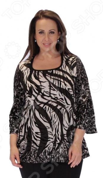 Блуза Элеганс «Алэйна»Блузы. Рубашки<br>Блуза Элеганс Алэйна это легкая и нежная блуза, которая поможет вам создавать невероятные образы, всегда оставаясь женственной и утонченной. Благодаря необычному дизайну блуза скрывает любые недостатки фигуры. Блуза прекрасно смотрится с брюками и юбками, а насыщенный цвет привлекает взгляд. Гармоничное сочетание цветов и фактур делают эту модель привлекательной и эффектной. Оригинальная цветовая гамма и стильный набивной принт позволяют создавать изысканные образы. Универсальная длина до середины бедра и выразительный фасон позволяют надеть ее не только в офис или на прогулку, но и на официальные мероприятия. Удобные рукава скрывают несовершенства в области плеч. Круглый вырез горловины, декорированный тесьмой, визуально удлинит горло и подчеркнет плавность черт. Швы обработаны текстурированными, эластичными нитями, благодаря чему не тянутся и не натирают кожу. Блуза изготовлена из мягкого материала набивной фолк 100 полиэстер , благодаря чему материал не скатывается и не линяет после стирки. Полиэстер предохраняет вещь от измятия и быстро высыхает после стирки. Даже после длительных стирок и использования эта блуза будет выглядеть идеально. Материал является антистатическим и обладает хорошей воздухопроницаемостью.<br>