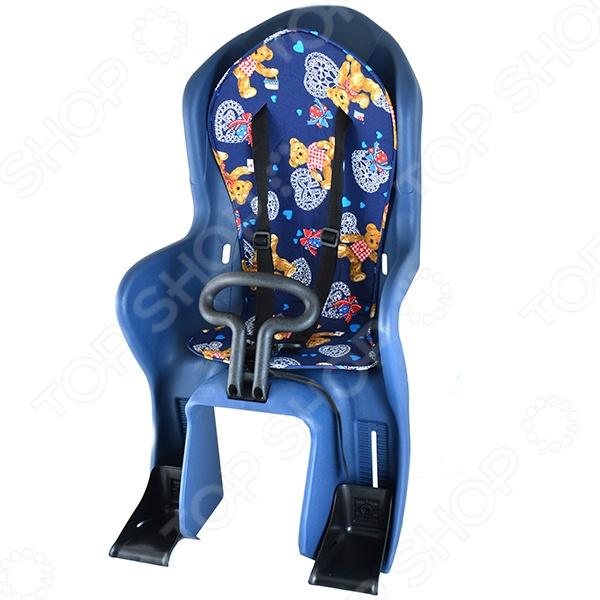 Кресло детское заднее GH-586Велоаксессуары<br>Кресло детское заднее GH-586 сможет подарить вам и вашим близким большое количество радости во время интересных увлекательных вело-прогулок. Благодаря продуманной конструкции вы сможете без труда закрепить кресло на багажнике собственного велосипеда используя простые подручные инструменты. Надежные крепления, а так же мягкая поверхность седла и спинки обеспечивают высокую степень безопасности, позволяя кататься вместе с ребенком по парку, улице или другому месту. К его основным особенностям кресла можно отнести:  наличие упора для ног;  анатомическая конструкция;  возможность регулировки высоты держателей для ног с ремешками;  трехточечный ремень безопасности;  наличие мягкой подкладки;  удобная ручка, в виде руля;  возможность выдерживать максимальную нагрузку до 22 кг. Подарите своему ребенку заботу, безопасность и внимание, вместе с детским креслом для велосипеда GH-586.<br>