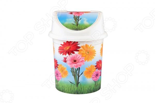 Контейнер для мусора Violet 0408/82 «Цветы»Контейнеры для мусора<br>Контейнер для мусора Violet 0408 82 Цветы пригодится как в квартире, так и в офисном помещении. Хорошие хозяйки знают, что главное правило чистоты отсутствие хлама и мусора. Именно поэтому под рукой всегда должен быть контейнер, куда можно выбросить различные бумажные отходы, салфетки, ватные спонжики и другие ненужные мелочи. Такой контейнер для мусора с ярким и оригинальным рисунком отлично будет смотреться в рабочем кабинете, ванной комнате или на кухне.<br>