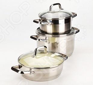 Набор посуды для готовки Mayer&amp;amp;Boch MB-20830Наборы посуды для готовки<br>Набор посуды для готовки Mayer Boch MB-20830 станет отличным дополнением к набору вашей кухонной утвари. Посуда функциональна и универсальна в использовании, подойдет для варки супов, гарниров, макарон, овощей, компотов и т.д. Кастрюли выполнены из высококачественной нержавеющей стали, а внутренняя поверхность идеально ровная, что облегчает ручное мытьё. Такой материал не вступающим в реакции с продуктами и не искажающим вкус приготовленных блюд. Крышки изготовлены из закаленного жаростойкого стекла, снабжены металлическим ободком для защиты от сколов и пароотводом. При необходимости посуда легко моется в посудомоечной машине. В комплекте: кастрюля:D20х11,5 см 3л , D24х14 см 5,8л , сотейник: D24х7,5 см 3л .<br>