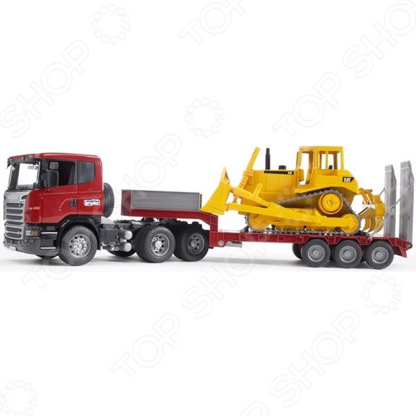 Машинка игрушечная Bruder «Тягач с прицепом и платформой» Scania цена