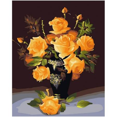 Купить Набор для раскрашивания по номерам Белоснежка «Букет желтых роз»