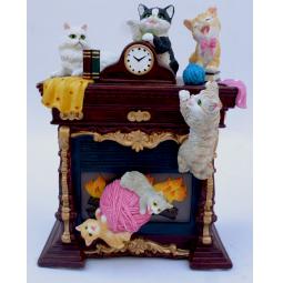 Купить Музыкальная шкатулка Crystal Deco «Камин с котятами»