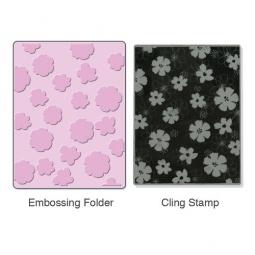 фото Форма для эмбоссирования и штамп Sizzix Textured Impressions Цветочки и Stamp