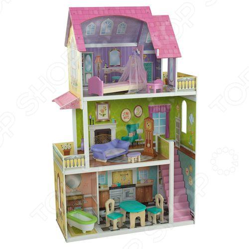 Кукольный дом с аксессуарами KidKraft «Флоренс»Кукольные домики. Мебель<br>Кукольный домик заветная мечта каждой девочки Не секрет, что каждая девочка мечтает о своем кукольном домике. В списке детских подарков эта игрушка числится одной из самых желанных, заветных и востребованных. Почему спросите вы. Думаем, ответ очевиден: кукольный домик это не просто игрушка, это целая игровая площадка! Кукольный дом с аксессуарами KidKraft Флоренс станет чудесным подарком для вашей маленькой принцессы. Теперь игры с любимыми куклами будут еще интересней и увлекательней! Что немаловажно, они станут и более приближены к реальной жизни, ведь не секрет, что дети склонны во всем подражать взрослым. В процессе таких игр малыши не только учатся выстраивать отношения с окружающими, но и примеряют на себя различные социальные роли.  Совсем как настоящий Домик очень просторный и уютный, выполнен из натурального дерева и предназначен для кукол размером не более 30 см Barbie, Sonya Rose, Ever After High и др. . Он имеет частично открытую конструкцию и насчитывает целых три этажа. При этом, с первого на второй этаж можно подняться по лестнице.  1 этаж кухня-столовая и ванная.  2 этаж просторная гостиная и балкон.  3 этаж спальня с балконом.  Каждая комната имеет свой неповторимый дизайн и отличается великолепной проработкой деталей. Достигается это, благодаря художественному украшению стен и наличию большого количества разнообразных аксессуаров:  Кухня-столовая обеденный столик и два стульчика.  Ванная комната ванна.  Гостиная диванчик, журнальный столик и напольные часы.  Спальня кровать с балдахином и прикроватная тумбочка.  Особенности и преимущества модели  Деревянный каркас.  Использование стойких нетоксичных красок.  Частично открытая конструкция.  Прекрасная детализация.  Множество аксессуаров.  Простота сборки.  Подходит для кукол размером до 30 см.<br>