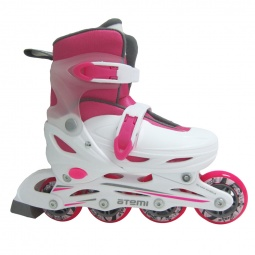 Купить Детские роликовые коньки ATEMI AJIS-12.05 Neon hard boot white/pink