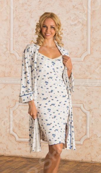 Комплект: халат и сорочка для беременных Nuova Vita 714.2. Цвет: синий