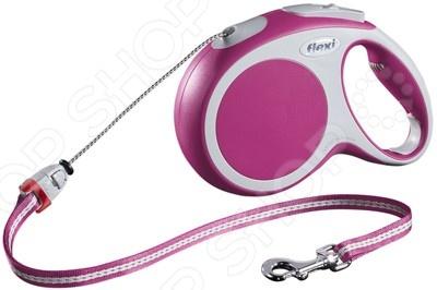 Поводок-рулетка Flexi VARIO M. Цвет: розовыйКарабины. Поводки. Рулетки для собак<br>Поводок-рулетка Flexi VARIO M. Цвет: розовый - удобная и практичная модель, которая позволит насладиться прогулкой с вашим питомцем. Модель представляет собой тросовый поводок-рулетку, которая обеспечивает собаке свободу движения. Рулетка проста в использовании, имеет кнопки кратковременной и постоянной фиксации. Эргономичная рукоятка оснащена прорезиненными элементами, что исключает скольжение рулетки в ладони. Легкий и одновременно прочный корпус со светоотражающими элементами оснащен хромированной застежкой. Подарите себе и своему четвероногому другу приятную и полезную для здоровья прогулку.<br>