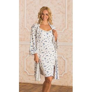 Купить Комплект: халат и сорочка для беременных Nuova Vita 714.2. Цвет: синий