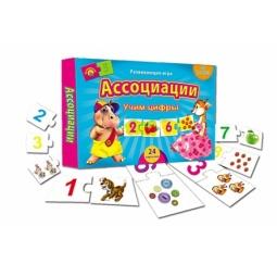 фото Игра настольная развивающая Рыжий кот «Ассоциации. Учим цифры»