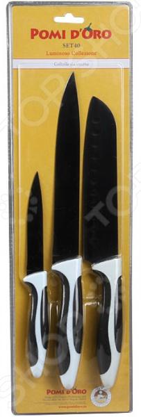 Набор ножей POMIDORO SET40Ножи<br>Набор ножей POMIDORO SET40 с лезвиями из высококачественной нержавеющей стали станет незаменимым на вашей кухне. Идеально подойдет для шинковки, чистки, нарезки овощей и фруктов, а также перерубания мелких костей. Лезвия ножей долго сохраняют заточку, а цельнокованная конструкция клинков гарантирует долговечность изделий. Эргономичная рукоять каждого изделия выполнена из прорезиненного пластика. Рельефная поверхность рукояти обеспечит надежный захват и не даст ножу скользить в руке при использовании. В комплекте поставляется 3 ножа различного назначения. С набором ножей POMIDORO SET40, вы почувствуете себя профессиональным шеф-поваром.<br>