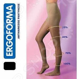Колготки антиварикозные плотные Ergoforma 105 - изготовлены из комбинированных материалов. Профилактический антиварикозный трикотаж обладает компрессионным воздействием на подлежащие мягкие ткани 15-18 мм ртутного столба . Использование колгот способствует нормализации оттока венозной крови за счет градуированной компрессии на мышцы и венозную стенку. 100 компрессия в области щиколотки и голеностопного сустава. Ниже коленного сустава компрессия составляет 70 . В верхней части бедра компрессия не более 40 от начального значения. Подобное постепенное снижение компрессии способствует нормализации оттока жидкости из нижних отделов ног, так же защищает венозную стенку от деформации и ускоряет ток крови, упрощая и нормализуя работу венозной помпы. Специальная высокотехнологичная вязка компрессионного трикотажа позволяет оказывать дозированное давление в течение всего дня. Использование компрессионного трикотажа - отличный метод профилактики и лечения болезней вен и нижних конечностей. Показания к применению:  наследственная предрасположенность;  избыточный вес;  целлюлит;  беременность;  прием гормональных контрацептивов;  длительные статические нагрузки;  авиаперелеты;  длительные поездки на транспорте автомобиль, автобус, поезд ;  сидячая работа, работа на ногах ;  занятия спортом. Результаты применения:  увеличение скорости оттока венозной крови от периферии к центру;  предотвращение обратного тока крови по венам;  уменьшение отеков на ногах;  уменьшение ощущения тяжести в ногах;  снижение риска тромбоза вен нижних конечностей. Порядок надевания:  надевать компрессионный трикотаж утром, сразу после того как встали с кровати;  после завершения утренних гигиенических процедур необходимо полежать в течение 5 10 минут, приподняв ноги под углом 30 45 градусов относительно горизонтальной поверхности для нормализации оттока венозной крови ;  изделие вывернуть на изнаночную сторону до пятки;  надеть изделие на стопу, убедитесь, что пятка чулка правильно расположена на ноге;  р