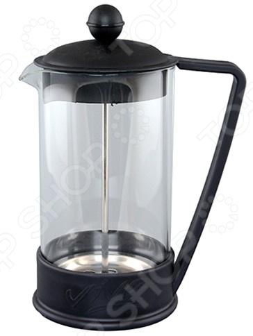 Френч-пресс Viva LaCafeФренч-прессы<br>Френч-пресс Viva LaCafe специальный чайник с поршнем, предназначен для приготовления кофе или чая способом настаивания и отжима. Процесс получения необычного напитка займет не более 5 минут. В заварник засыпается чай или кофе крупного помола и заливается горячей водой, а затем настаивается около 4 минут. Отличное приспособление для придания аромата и получения насыщенного вкуса вашего напитка. Особенности:  Чайник имеет подставку с ручкой из пластика.  Поршень используется для отжима чая и фильтрации.  Прозрачная емкость позволяет видеть количество жидкости в чайнике.  Изделие имеет подарочную упаковку и идеален для выбора подарка.<br>