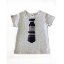 фото Футболка для новорожденных с галстуком Ёмаё. Цвет: серый. Размер: 20. Рост: 68 см