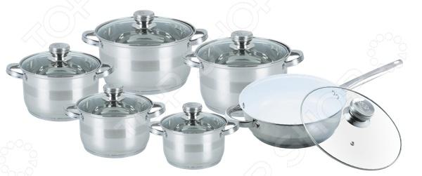 Набор кастрюль Bohmann BH-1275 NWCНаборы посуды для готовки<br>Набор кастрюль Bohmann BH-1275 NWC станет отличным дополнением к набору вашей кухонной утвари. Кастрюли удобны и функциональны в использовании, подходят для варки супов, гарниров, макарон, овощей, компотов и т.д. Посуда выполнена из высококачественной, не вступающей в реакции с продуктами питания, нержавеющей стали. Пятиступенчатое капсульное дно обеспечивает равномерный нагрев и длительное сохранение тепла. Крышки выполнена из жаростойкого стекла и снабжены и металлическим ободком для защиты от сколов и трещин. Сковорода оснащена высокопрочным керамическим покрытием.<br>