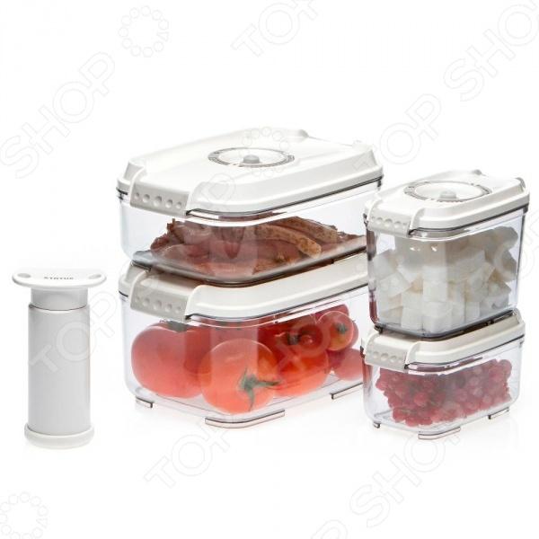 Набор вакуумных контейнеров для продуктов STATUS VAC-REC-SmallerКонтейнеры для продуктов и ланч-боксы<br>STATUS VAC-REC-Smaller это удобный и простой в использовании набор контейнеров. Представленный набор предназначен для хранения пищевых продуктов, поэтому отлично подойдет как для использования дома, так и в дороге. Благодаря вакуумной технологии, пища не подвергается внешнему воздействию, а срок ее хранения значительно увеличивается. Также сохраняются первоначальный вкус и аромат блюд. Контейнеры STATUS VAC-REC-Smaller оснащены индикаторами даты и изготовлены из абсолютно безопасного материала, который не содержит бисфенол А BPA-Free . Каждое изделие можно использовать для хранения пищи в холодильнике или морозильной камере до -21 C . Кроме того, за контейнерами легко ухаживать, т.к. их можно мыть в посудомоечной машине. Допускается разогрев блюда в микроволновой печи без крышки .<br>