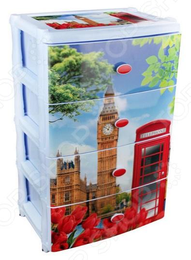 Комод 4-х секционный широкий Альтернатива «Лондон»Комоды<br>Комод 4-х секционный широкий Альтернатива Лондон отлично впишется в интерьер вашей гостиной или коридора. Он представляет собой удобный и практичный предмет мебели, используемый для хранения вещей, различных аксессуаров и принадлежностей для дома. Модель выполнена из высокопрочного пластика и снабжена четырьмя выдвижными ящиками.<br>
