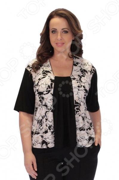 Блуза Элеганс «Серебряная сказка»Блузы. Рубашки<br>Блуза Элеганс Серебряная сказка это легкая и нежная блуза, которая поможет вам создавать невероятные образы, всегда оставаясь женственной и утонченной. Благодаря необычному дизайну блуза скрывает любые недостатки фигуры. Блуза прекрасно смотрится с брюками и юбками, а насыщенный цвет привлекает взгляд. Гармоничное сочетание цветов и фактур делают эту модель привлекательной и эффектной. Универсальная длина до середины бедра и выразительный фасон позволяют надеть ее не только в офис или на прогулку, но и на официальные мероприятия. Широкие, короткие рукава скрывают несовершенства в области плеч. Круглый вырез горловины, декорированный тесьмой, визуально удлинит горло и подчеркнет плавность черт. Черная однотонная вставка делает силуэт визуально стройнее. Швы обработаны текстурированными, эластичными нитями, благодаря чему не тянутся и не натирают кожу. Блуза изготовлена из приятного трикотажа полиэстер 95 и эластан 5 , благодаря чему материал не скатывается и не линяет после стирки. Полиэстер предохраняет вещь от измятия и быстро высыхает после стирки. Даже после длительных стирок и использования эта блуза будет выглядеть идеально. Материал является антистатическим и обладает хорошей воздухопроницаемостью.<br>
