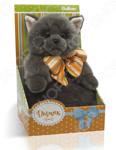 Мягкая игрушка Gulliver «Котик Дымок с бантом» gulliver игр мягкая мишка с вельветовыми вставками в шарфике 24см
