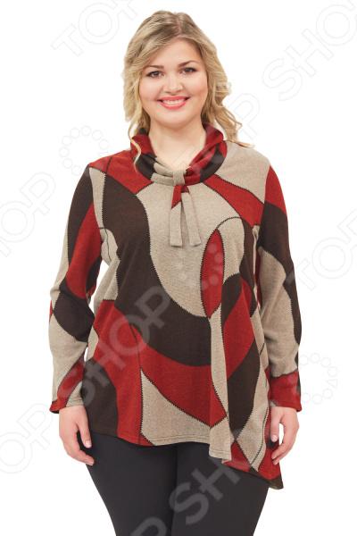 Блуза Элеганс «Астрида». Цвет: мультиколорБлузы. Рубашки<br>Блуза Элеганс Астрида незаменимая вещь в гардеробе модницы. Подойдет для женщин практически любой комплекции, ведь особенности кроя помогают скрыть недостатки и подчеркнуть достоинства фигуры. Эта блуза полуприталенного силуэта отлично подойдет для повседневного использования.  Универсальная длина до середины бедра и выразительный фасон позволяют надеть ее не только в офис, но и на прогулку.  Выразительный фасон позволяют надеть ее не только в офис или на прогулку, но и на официальные мероприятия.  Оригинальная цветовая гамма позволяет создавать изысканные образы.  На фото с брюками Меркурий и Сезам. Блуза изготовлена из высококачественного трикотажа 97 полиэстер, 3 эластан . Полиэстер предохраняет вещь от измятия и быстро высыхает после стирки.<br>