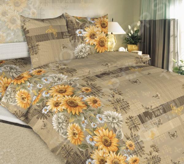 Комплект постельного белья ТексДизайн «Дары солнца». 1,5-спальный1,5-спальные<br>Комплект постельного белья ТексДизайн Дары солнца это сочетание прекрасного качества и стильного современного дизайна. Он внесет яркий акцент в интерьер вашей спальной комнаты, добавит ей элегантности и изысканности. В набор входит пододеяльник, простынь и две наволочки. Составляющие комплекта выполнены из высококачественной бязи и украшены оригинальным цветочным принтом. Бязь представляет собой плотную хлопчатобумажную ткань полотняного переплетения. Она отлично зарекомендовала себя в пошиве постельного белья, благодаря своей воздухопроницаемости, легкости и устойчивости к истиранию. Ткани и готовые изделия производятся на современном импортном оборудовании и отвечают европейским стандартам качества. Рекомендуется стирать белье в деликатном режиме без использования агрессивных моющих средств.<br>