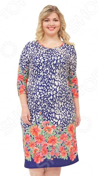 Платье Матекс «Яркие цветы». Цвет: белыйПовседневные платья<br>Платье Матекс Яркие цветы поможет вам создавать невероятные образы, всегда оставаясь женственной и утонченной. Грамотный крой и цвет скрывают недостатки фигуры и подчеркивают достоинства. В этом платье вы будете чувствовать себя блистательно как на празднике, так и на вечерней прогулке по городу.  Платье полуприталенного силуэта.  Оригинальный узор привлечет восторженные взгляды окружающих.  Круглый вырез горловины подчеркнет красоту вашей шеи.  Удобные рукава 3 4. Платье сшито из приятной на ощупь эластичной ткани, состоящей на 100 из полиэстера. Материал не линяет, не скатывается, формы от стирки не теряет.<br>