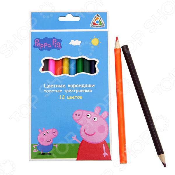 Набор толстых цветных карандашей Peppa Pig «Свинка Пеппа»: 12 цветовКарандаши<br>Не секрет, что рисование является для детей одним из самых любимых и увлекательных занятий. Оно, в полной мере, раскрывает творческий потенциал и способствует развитию у малышей фантазии и воображения. Помимо этого, рисуя или разукрашивая, ребенок учится правильно сочетать цвета, запоминает их названия и основные оттенки. Набор толстых цветных карандашей Peppa Pig Свинка Пеппа : 12 цветов станет отличным приобретением для юного художника. В набор входят 12 цветных карандашей. Они изготовлены из высококачественных материалов и снабжены прочным, устойчивым к механическим повреждениям, грифелем. Карандаши в меру мягкие, дают яркие и насыщенные цвета при рисовании. Срок годности не ограничен.<br>