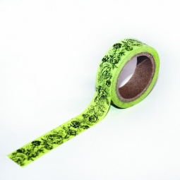 фото Скотч бумажный с рисунком ScrapBerry's Зеленые розочки