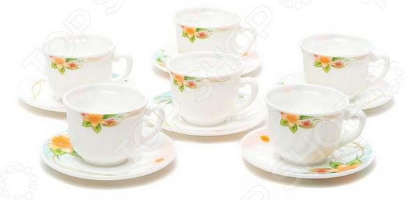 Набор чайных пар Miolla «Арина»Чайные и кофейные наборы<br>Сервировка праздничного стола важный элемент любого торжества, поэтому традиционное чаепитие после каждого застолья также требует большого внимания. Качественная и красивая посуда позволит не только в полной мере насладиться любимым напитком, но и получить эстетическое удовольствие от самого процесса. Элегантный и красивый набор чайных пар Miolla Арина великолепное приобретение для тех, кто ценит красоту и практичность во всем!  Изысканный дизайн и высокое качество Главная особенность данного чайного набора заключается в великолепном дизайне, который придется по душе ценителям классического исполнения. Белоснежные чашки и блюдца украшены нежным и ярким цветочным рисунком. Он придает изделиям особенное кокетство и шарм. Универсальный набор будет одинаково хорошо смотреться и на праздничном столе, и за обычным обеденным!  Аккуратные чашечки и блюдца к ним выполнены из высококачественной стеклокерамики, поэтому несмотря на свою внешнюю хрупкость, они отличаются легкостью, практичностью и эстетичностью. Они легко справляются с высокими температурами, а аккуратная ручка не даст вашим рукам случайно обжечься о горячие стенки.  Главные достоинства набора из стеклокерамики.  Устойчив к высоким температурам и различным химическим веществам.  Подходит для ежедневного использования, так как устойчив в появлению сколов и трещин.  Простой и легкий уход.  Может использоваться для мытья в посудомоечной машине. Набор чайных пар Miolla Арина станет идеальным и незаменимым подарком, который по достоинству оценят ваши друзья и близкие!<br>