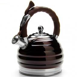 фото Чайник со свистком Mayer&Boch Convex Rings. Цвет: серебристый, тёмно-коричневый