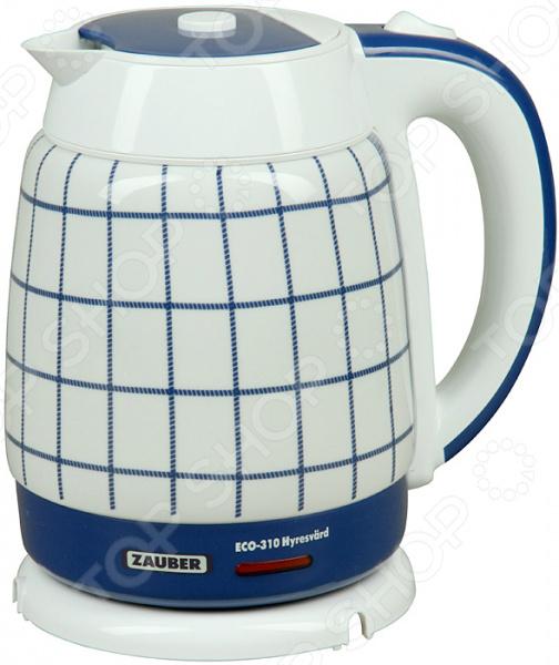 Чайник Zauber ECO-310Чайники электрические<br>Удобный и простой в использовании чайник Zauber ECO-310 изготовлен из высококачественной керамики, что позволяет максимально сохранить полезные свойства и вкусовые качества воды. Благодаря мощности в 2000 Вт и нагревательному элементу дискового типа, он быстро вскипятит воду объемом до 1,8 литров. На рынке бытовой техники этот прибор пользуется неизменной популярностью благодаря высокому качеству, безопасности и наличию долговечной контактной группы Strix. Модель оснащена шкалой уровня воды, запатентованной крышкой с силиконовым фиксатором, а также защитным съемным ситечком Eco-Sil SM . Цоколь с центральным контактом позволяет поворачивать прибор на 360 , а специальная система обеспечит низкий уровень шума во время нагревания жидкости в резервуаре. В целях безопасности имеется функция автоматического выключения при закипании. Благодаря стильному дизайну, чайник Zauber ECO-310 впишется в любую современную кухню.<br>