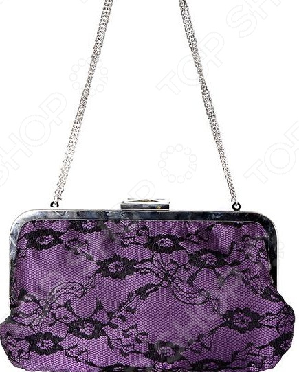 Сумка Fabretti «Карлисия»Сумки женские<br>Сумка Fabretti Карлисия это стильная и легкая сумка, которая сделана из полиэстера. Сумка достаточно вместительная, вы можете положить в нее всё необходимое. В любой момент вы будете выглядеть модно и элегантно.  Сумка из атласной ткани фиолетового цвета и черного кружева с цветочным принтом.  Сумка закрывается на рамочный замок. Застежка задекорирована кристаллом.  Ручка изготовлена из металлической цепочки цвета блестящее серебро.  Внутри одно отделение с маленьким кармашком.  Подкладка фиолетового цвета из атласной ткани.  Длина - 22 см, высота - 12 см, высота с ручкой - 28 см. Сумка сделана из качественного ткани 100 полиэстер , рекомендуется сухая чистка.<br>