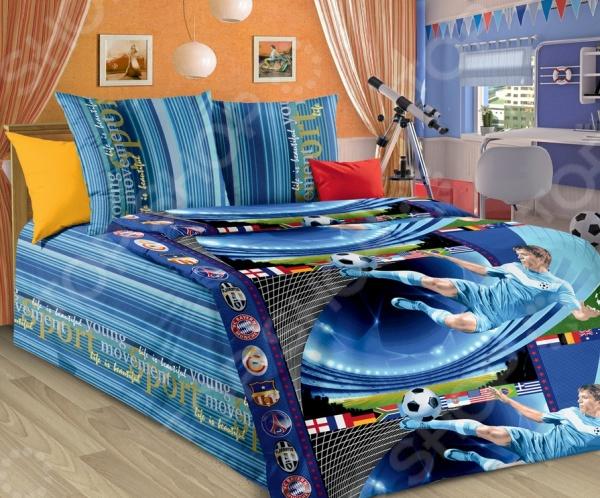 Детский комплект постельного белья Бамбино «Пенальти»Детские комплекты постельного белья<br>Здоровый и комфортный сон зависит не только от того насколько ваш матрас и подушка мягкие и удобные, но и, не в последнюю очередь, от того на каком постельном белье вы спите ежедневно. Очень важно при выборе постельного белья ориентироваться не только на его цену и яркий дизайн, но и на качество, и тонкость материала. Жесткие и плотные ткани, пусть даже и натуральные, не подходят для ежедневного использования, ведь они могут причинить коже удивительный дискомфорт, вызвав её покраснения и раздражения. Особую внимательность нужно проявить во время выбора постельного белья для вашего ребенка, ведь именно их нежная и чувствительная кожа отличается удивительной восприимчивостью к различным материалам и красителям. Комплект постельного белья для детей Бамбино Пенальти яркий и оригинальный комплект постельного белья, выполненный из набивной бязи. Этот высококачественный материал изготовляется из нитей 100 натурального хлопка и отличается свой прочностью, экологичностью и мягкостью. Он не будет вызывать раздражение или аллергию у нежной детской кожи. Легкая и гигроскопическая ткань практически не мнется, поэтому белье не собирается в грубые складки даже во время самого беспокойного сна. Данный комплект отличается удивительной тонкостью и благородным блеском, который придает ему особую изысканность. Постельное белье не потеряет свой цвет и текстуру даже после многочисленных стирок. Яркий дизайн комплекта на спортивную тематику станет прекрасным дополнением интерьера любой детской комнаты и обязательно понравится вашему юному футболисту. Привнесите немного яркости и комфорта в детскую комнату с комплектом постельного белья для детей Бамбино Пенальти !<br>