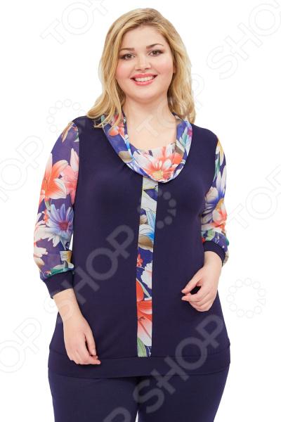 Блуза Матекс «Урия». Цвет: мультиколорБлузы. Рубашки<br>Блуза Матекс Урия незаменимая вещь в гардеробе модницы. Подойдет для женщин практически любой комплекции, ведь особенности кроя помогают скрыть недостатки и подчеркнуть достоинства фигуры. Эта блуза полуприталенного силуэта отлично подойдет для повседневного использования.  Универсальная длина на уровне бедра.  Вырез горловины качелькой выполнен из шифона.  Длинные рукава, так же выполнены из яркого полупрозрачного шифона.  Спереди идет декоративная вставка.  Блуза представлена с брюками Миледи . Блузка выполнена из текстильного полотна, которое отлично держит форму, не теряет цвет после стирки, не скатывается 95 вискоза, 5 полиэстер, вставки: 100 полиэстер . Полиэстер предохраняет вещь от измятия и быстро высыхает после стирки.<br>