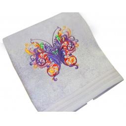фото Полотенце подарочное с вышивкой TAC Babochka. Цвет: сиреневый