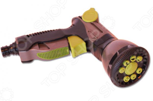 Пистолет-распылитель EUROTEX 090414-001Пистолеты для полива<br>Пистолет-распылитель EUROTEX 090414-001 функциональное приспособление, которые облегчает процесс полива огорода, сада или приусадебного участка. Девяти-позиционный пистолет-распылитель выполнен из ударопрочного пластика, который обеспечивает долгий срок эксплуатации приспособления. Эргономичная рукоятка с обрезиненной поверхность облегчает хват и не позволяет рукам скользить во время работы. Конструкция дополнена специальным фиксатором клавиш, который позволяет без усилий удерживать пистолет в рабочем положении нужное количество времени. Девять систем полива включают:  жесткую струю;  центральное распыление;  конусное распыление;  плоскую горизонтальную струю;  эффект водопада;  распыление типа туман ;  плоское вертикальное распыление;  душ;  распыление под углом. Также предусмотрен регулятор напора воды.<br>
