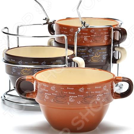 Набор супниц Mayer Boch 24672 состоит из четырех керамических бульонниц объемом 550 мл каждая. Великолепная износоустойчивость и стильный современный дизайн в сочетании с удобством использования сделают этот набор отличным дополнением любой кухни. Кроме того, благодаря входящей в набор металлической подставке, супницы не будут занимать много места при хранении. Посуда пригодна для использования в микроволновой печи и мытья в посудомоечной машине.