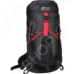 Рюкзак туристический NOVA TOUR «Блэк Айс 45»Туристические рюкзаки и аксессуары<br>Рюкзак NOVA TOUR Блэк Айс 45 это удобный трекинговый рюкзак для любителей активного отдыха. Подвесная система Air Flow обеспечивает пространство между рюкзаком и спиной, что гарантирует максимально комфортную вентиляцию. Вы сможете разместить в рюкзаке все необходимые вещи внутри множества карманов. Трекинговые палки вы сможете разместить на специальных креплениях. Даже если в дороге захочется попить, то вам не обязательно будет останавливаться, ведь в рюкзаке есть отделение для питьевой системы.<br>